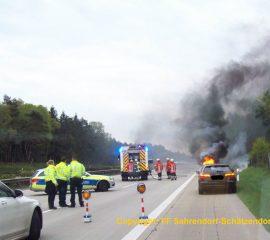 Fahrzeugbrand auf der A7 führt zu Vollsperrung