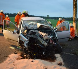 Schwerer Verkehrsunfall fordert Todesopfer – Fahrzeug gegen Baum geprallt