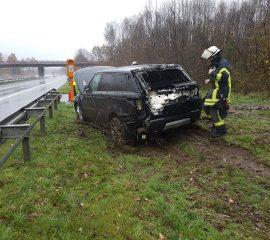 18.11.17 : Zwei Leichtverletzte bei spektakulärem Verkehrsunfall auf der A 261 – PKW raste in Abfahrt