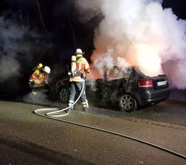 12.03.18 : Feuerwehr Maschen löscht Fahrzeugbrand ab – PKW gerät aus ungeklärter Ursache in Brand