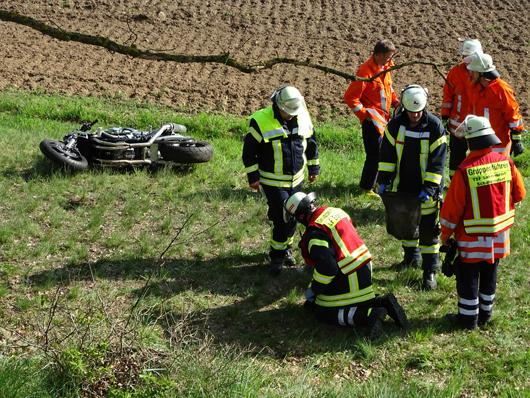 29.04.18 : Motorradfahrer nach Unfall schwer verletzt