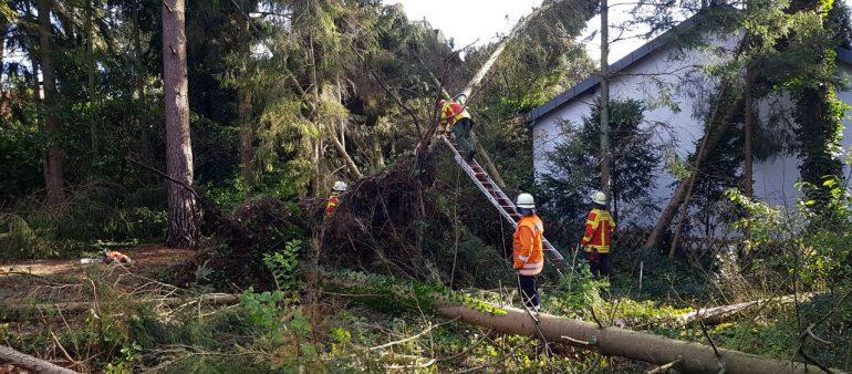 Erneut schwerer Herbststurm über dem Landkreis – viele hundert Hilfeleistungseinsätze- Feuerwehren retten Mann aus Wasser