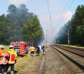 26.07.18 : 1.000 Quadratmeter Unterholz und Bahndamm brannten zwischen Maschen und Stelle – Großeinsatz für sieben Feuerwehren und den Flugdienst des Landesfeuerwehrverbands